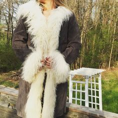 Penny Lane coat. Wilsons leather. Fur trim. Small This coat is gorgeous. Great condition. Size small (a loose small). Grey with fur trimmed hood. Maxima on tag. ✌️Penny Lane style✌️. Wilsons leather Wilsons Leather Jackets & Coats