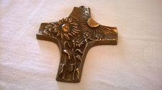 Vintage Deko - Altes Messing Kreuz Sonne und Blumen Wandschmuck - ein Designerstück von Grossmutters_Lieblinge bei DaWanda