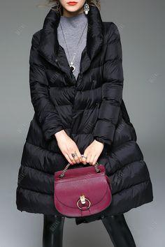 Padded Skirted Coat - BLACK XL