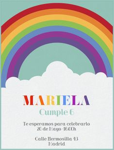 Children's Birthday Party Electronic Invitations and Online Cards Rainbow Parties, Rainbow Birthday Party, Birthday Parties, Kids Rainbow, 2nd Birthday, Online Birthday Invitations, Party Invitations Kids, Invites, Virtual Card