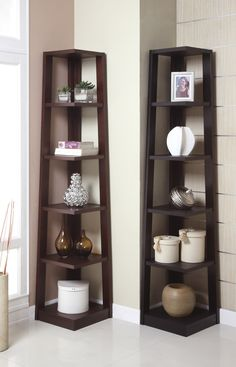 """Book Shelf F4613 $91  A modern crafted piece, This book shelf features a 5-tier shelf perfectly suited for a corner living or office space. Its shelves are angled corners adding boldness to the contemporary structure.  Dimensions  16"""" x 16"""" x 75""""H"""