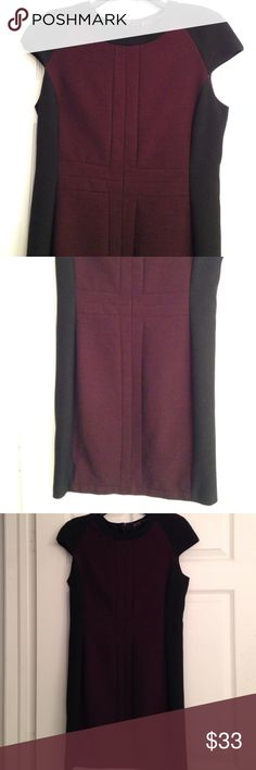 ZARA BLACK AND AUBERGINE CAP SLEEVED DRESS Totally Easy to wear Zara cap-sleeved dress with eggplant/aubergine and black colour-block.. instantly slimming.. And great cap sleeves for a Finished, Modern look! Fully lined.  Poly/Viscose blend. Hidden back zipper. In good condition. Zara Dresses