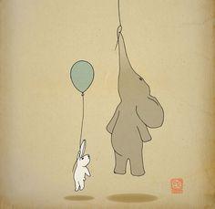 Art print, nursery poster 12x16 kids wall art, elephant and bunny, baby rabbit, elephant illustration 12x16.via Etsy.