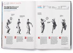I think this spread is very well deisgned because of its use of alignment. Graphic Design Books, Book Design Layout, Print Layout, Booklet Design, Typography Layout, Graphic Design Typography, Editorial Layout, Editorial Design, Tennis Magazine