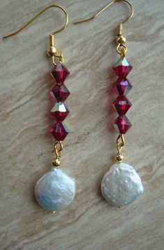Coin Pearl and Swarovski Crystal a Earrings