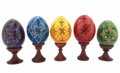 Set of 5 Pysanky Easter Wooden Eggs on Stand  -  at Holy Trinity Store
