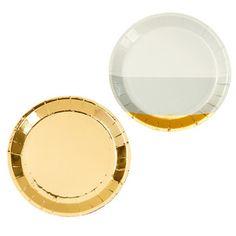 Sada 8 papírových talířů Canape Gold