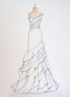 Custom Wedding Dress Illustration of Jim Hjelm dress by ForeverYourDress, $125.00, custom wedding gift www.foreveryourdress.com
