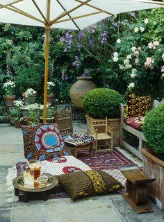 33 Gorgeous Bohemian Outdoor Patio Designs For Cozy Outdoor Space Idea , Outdoor Rooms, Outdoor Gardens, Outdoor Living, Outdoor Decor, Outdoor Retreat, Outdoor Plants, Outdoor Seating, Patio Plants, Garden Seating