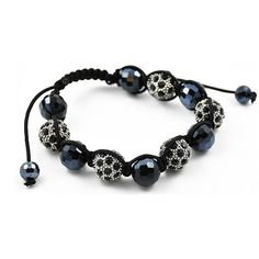 Stainless Steel Black and Metallic Crystal Shamballa Bracelet