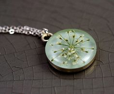 Delicate silver necklace with real dried Queen Annes lace