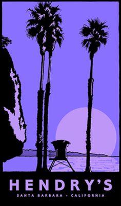 I want this Jake Early too. Santa Barbara County, Life Goals, Vintage Posters, Illustration, Old Things, California, Art Prints, Wall Art, Auburn