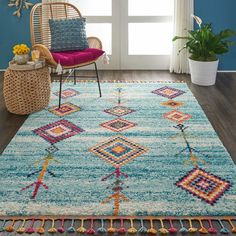 Shop for Nourison Moroccan Casbah Tribal Tassel Area Rug. Get free delivery at Overstock - Your Online Home Decor Store! Get in rewards with Club O! Moroccan Decor Living Room, Morrocan Decor, Moroccan Bedroom, Moroccan Lanterns, Moroccan Interiors, Rug Over Carpet, Hall Carpet, Synthetic Rugs, Sewing Tutorials