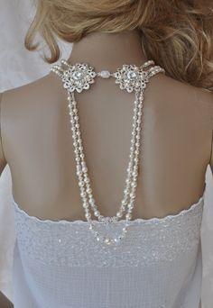 Gatsby jewelry Vintage wedding 1920's jewelry Swarovski Necklace Wedding Statement Back Pearl Crystal Necklace Back Body Bride Jewelry