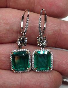 Estate Colombian Emerald & Diamond 13.42 TCW Platinum Dangle Earrings!!! #HandmadeCustomArtDecostyle #DropDangle