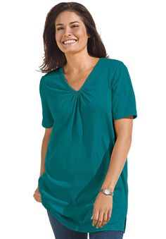Top in tunic length, the Perfect cotton V-neck with shirring   Plus Size Tops & Tees   OneStopPlus