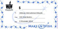Cheque nav inzamelingsactie ten bate van Make a Wish Foundation. (okt 2012)