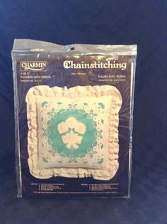 NIP Janalynn Charlmin #35-17 Chainstitching Pillow Kit Ann Benson Flowers Ribbon #Janlynn