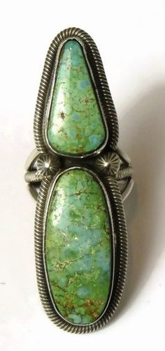 Turquoise Soul  . . .                       Sterling Silver King Manassa Turquoise Ring  by Rick Martinez, Navajo - Large Turquoise Ring
