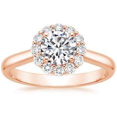 14K Rose Gold Lotus Flower Diamond Ring from Brilliant Earth- emerald or pear diamond