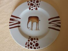 Assiette à dessert motif Eléphant
