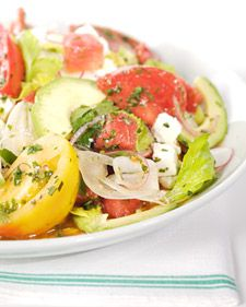 This delicious heirloom tomato and watermelon salad recipe is courtesy of Laurent Tourondel.