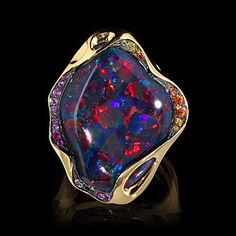 Yellow gold 750, Opal 17.59 ct, sapphire color Code:. R0028-3 / 1