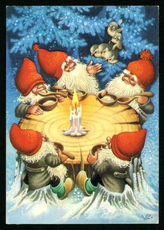 Lars Carlsson: Some cheerful gnomes sharing supper around a candle. Swedish Christmas, Christmas Gnome, Scandinavian Christmas, Christmas Post, Vintage Christmas Cards, Christmas Pictures, Vintage Cards, Illustration Noel, Christmas Illustration