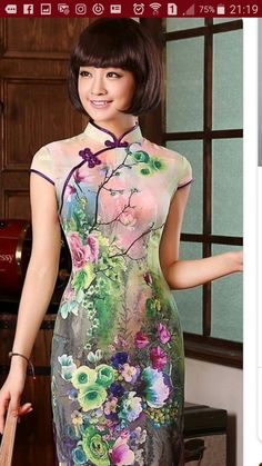 837437b584 Modern Pure Silk Qipao Day Dress with Colorful Flowers Print