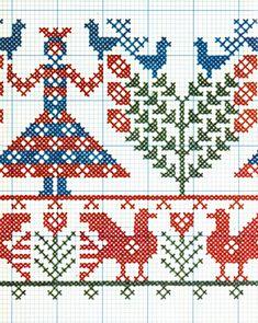 Kasuti Embroidery, Cross Stitch Embroidery, Embroidery Patterns, Cross Stitch Charts, Cross Stitch Patterns, Old Symbols, Stitch Design, Chiffon, Beading Patterns