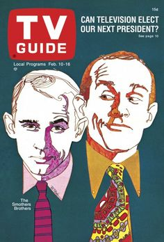 TV Guide February 10, 1968 - Dick and Tom Smothers of The Smothers Brother's Comedy Hour.  Illustration by Bob Peak.