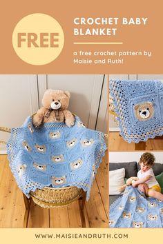 Crochet Dress Girl, Baby Girl Crochet, Cute Crochet, Baby Blanket Crochet, Crochet Blankets, Baby Blankets, V Stitch Crochet, Bear Blanket, Cute Teddy Bears