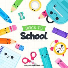 Back to school background with elements 1st Day Of School, The New School, School Fun, School Binder Covers, Welcome Back To School, School Scrapbook, School Clipart, School Stationery, Shops