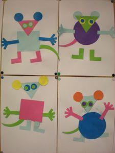 Create your own mice out of shapes Kindergarten Art, Preschool, Ernest Et Celestine, Art For Kids, Crafts For Kids, Mouse Paint, Color Shapes, Albums, Book Art