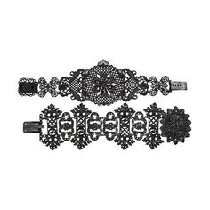 Berlin Iron bracelets: Gothic link example with floral bosse above mirror steel clasp, unmarked, attrib. A.F. Lehman; Rococo example with circular central ornament of delicate grillwork. 1800-1830.