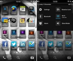 Tela inicial do BlackBerry 10.