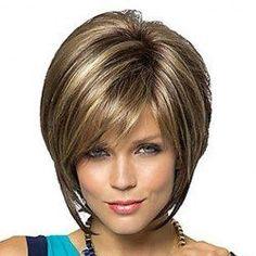Fashion Side Bang Charming Short Straight Dark Brown Mixed Blonde ...