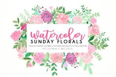Watercolor Sunday florals by Daria Bilberry on @creativemarket