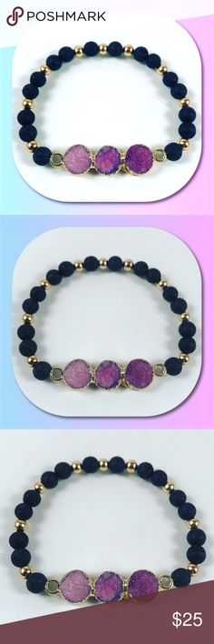 SALE ! pink purple druzy quartz lava rock bracelet 🎁FREE GIFT WITH EVERY PURCHASE !! LET ME KNOW IF YOU WANT MEN OR WOMEN GIFT WHEN PURCHASING 🎁Women beaded bracelet. Fits most , 6 to 7.5 inch wrist . Handmade by me , never worn by anyone . Made with black lava rocks wich can be used for oil diffusing or perfum holder . Beautiful purple pink Druzy quartz also yellow gold plated . I ship fast!!😊✈️😉 Bundle and save! ( 10 % off bundles ) . Any questions let me know! 🚫No transactions…