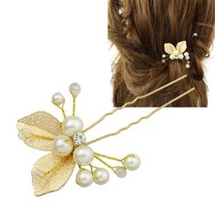2.58$  Watch now - http://dit5y.justgood.pw/go.php?t=204447301 - Rhinestone Faux Pearl Leaf Hairpin