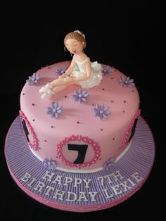 Ballet Themed Fondant Cake - (Jul 2014) Made this for the Birthday girl who loves dance, ballet, tap, jazz and One Direction. Made the Ballerina from Fondant/Gumpaste and I absolutely love her. Hope you like it too :D xMCx