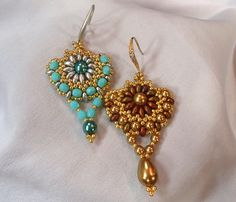 duo beads projects | Sunflower Earrings