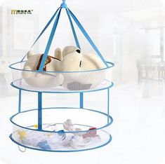 1PC Novetly New Portable Drying Rack Folding Hanging Clothes Laundry Hangers Practical Dryer Net 2 layers Hot Sell LF 043