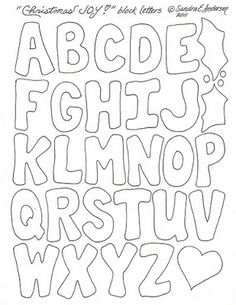 A Legacy of Stitches: Christmas Quilt-a-long Block! Free Printable Letter Stencils, Alphabet Letter Templates, Printable Letters, Alphabet And Numbers, Hand Lettering Alphabet, Block Lettering, Creative Lettering, Graffiti Lettering, Floral Embroidery Patterns