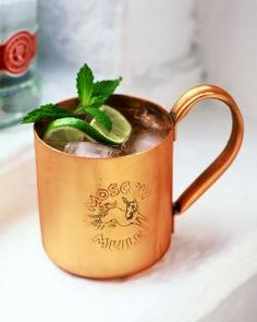 Moscow Mule- Chilled copper mug, squeeze 1/2 lime in bottom, fill w/ CRUSHED ice.  2 oz vodka, fill with ginger beer (Jury is still out which is our favorite.  I like Fever Tree, he likes, Maine Root.  Also optional to stir in a splash of simple syrup, or top with mint sprig.