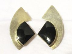 Vintage Sterling Silver Black Oynx Clip On by wandajewelry2013