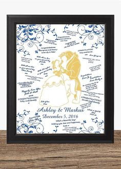 Blue And Gold Beauty Beast Wedding Guest Book Alternative Rustic Sign
