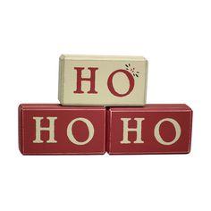 Ho Ho Ho Handmade Shelf Blocks Scandinavian Style Christmas Decoration ❤ liked on Polyvore featuring home, home decor, holiday decorations, christmas, wooden home decor, wood home decor and handmade home decor