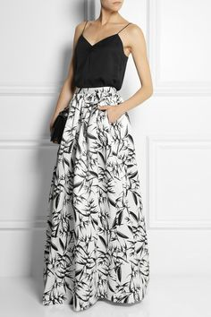 black and white printed maxi skirt