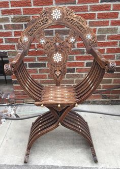 Antique 19th Century SYRIAN Moorish Wood Chair inlaid with mother of pearl